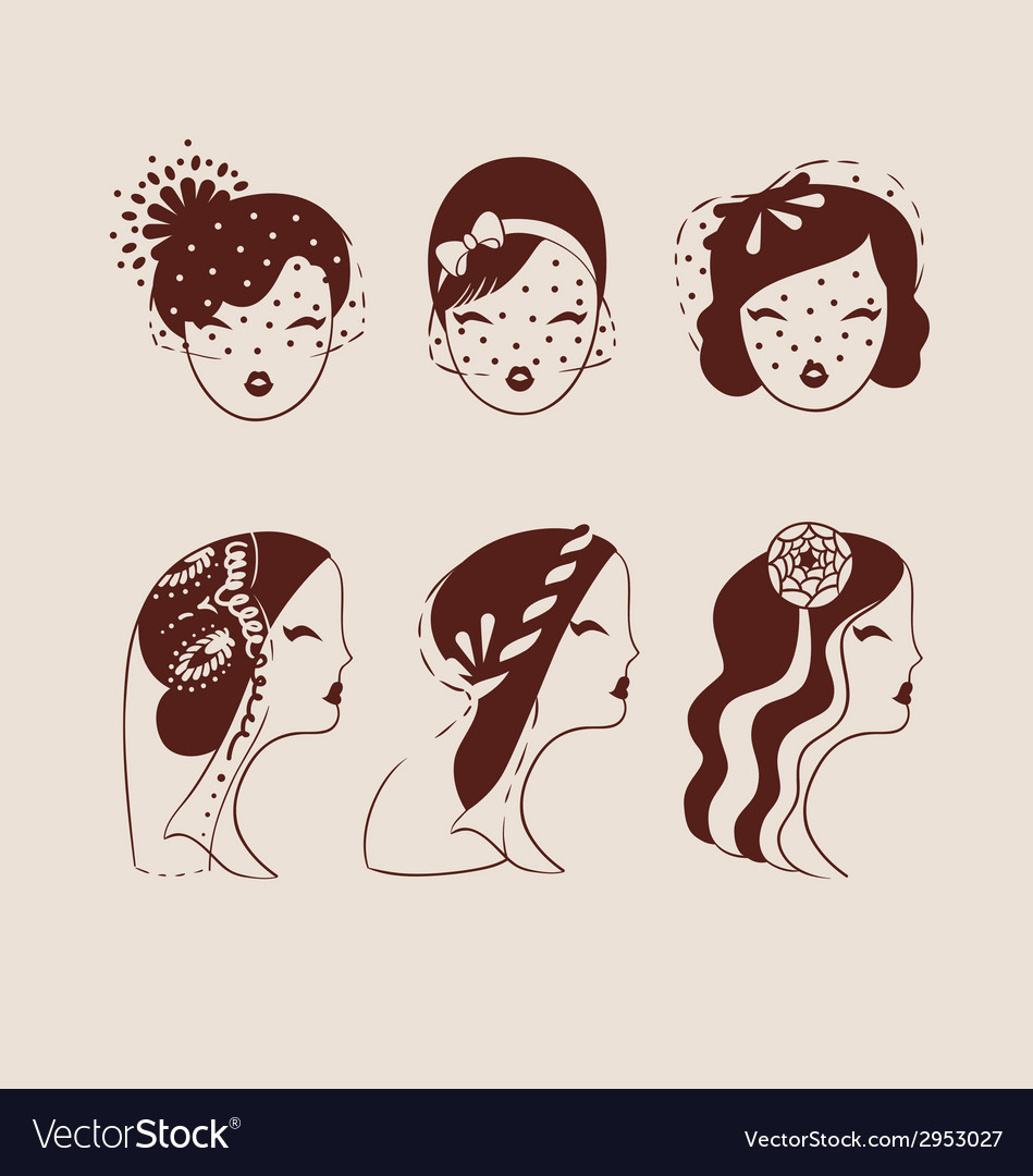Beautiful brides with different veils and hair vector | Price: 1 Credit (USD $1)