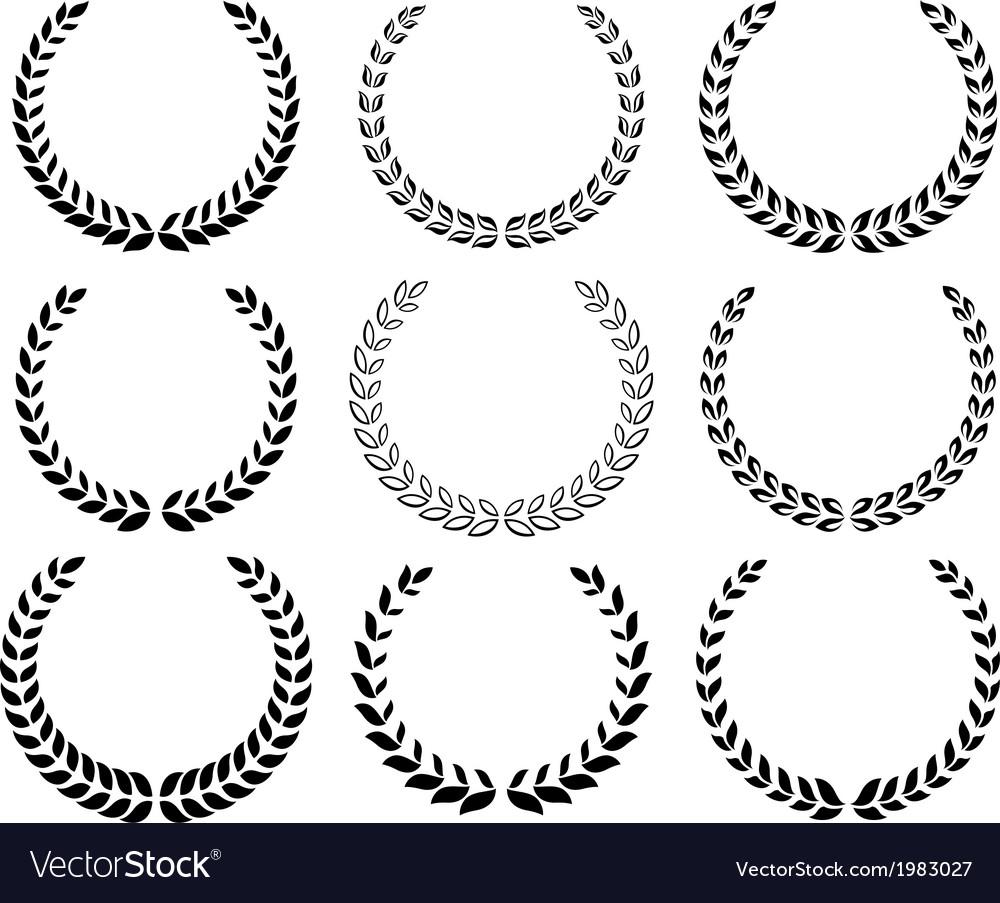 Black laurel wreaths set vector   Price: 1 Credit (USD $1)