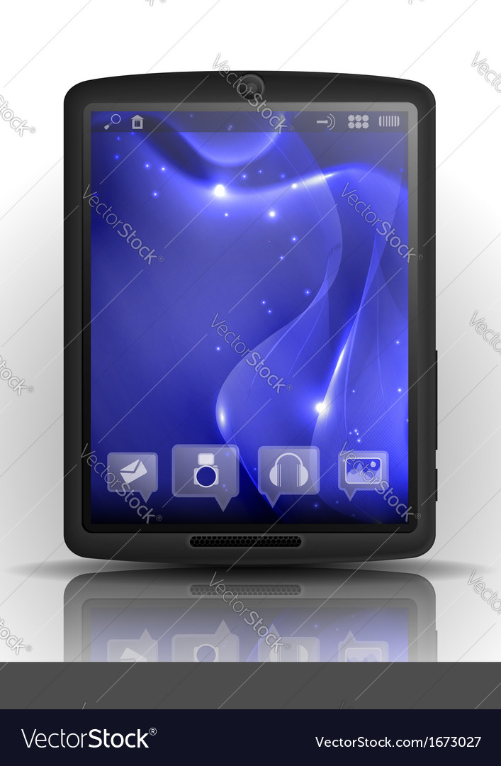 Digital tablet pc with blue screen vector | Price: 1 Credit (USD $1)