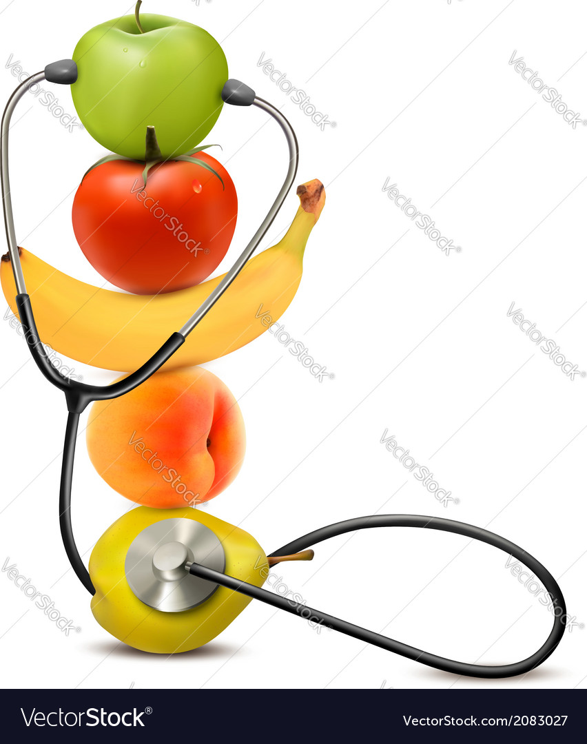 Fruit with a stethoscope healthy diet concept vector | Price: 1 Credit (USD $1)