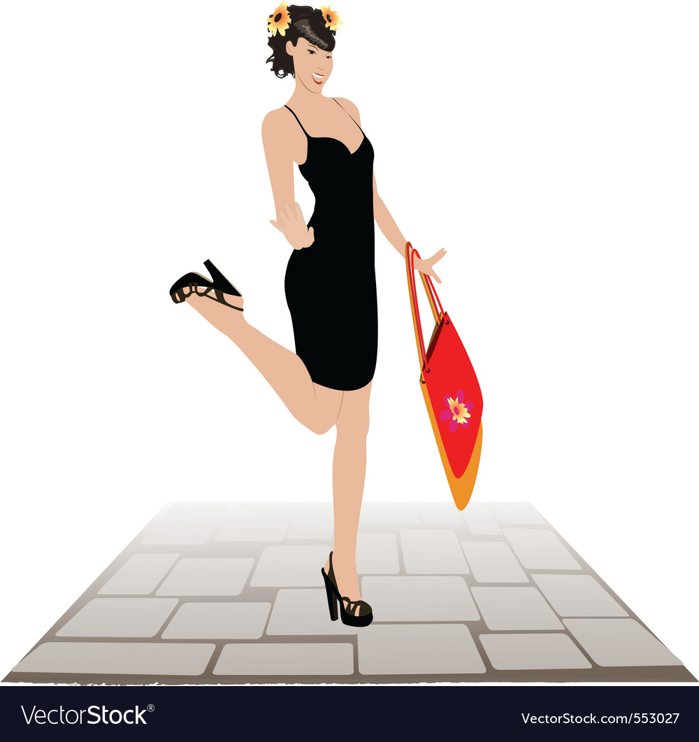 Girl with shopping bags against a roadway vector   Price: 1 Credit (USD $1)