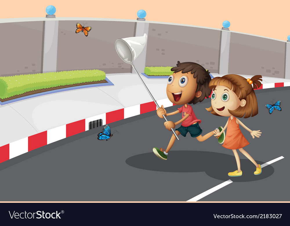 Kids catching butterflies at the street vector | Price: 1 Credit (USD $1)