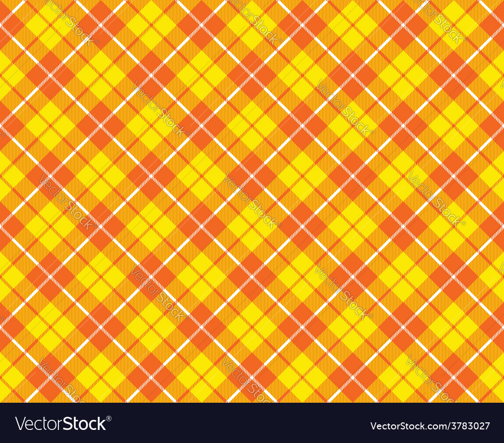 Orange yellow tartan fabric texture diagonal vector | Price: 1 Credit (USD $1)