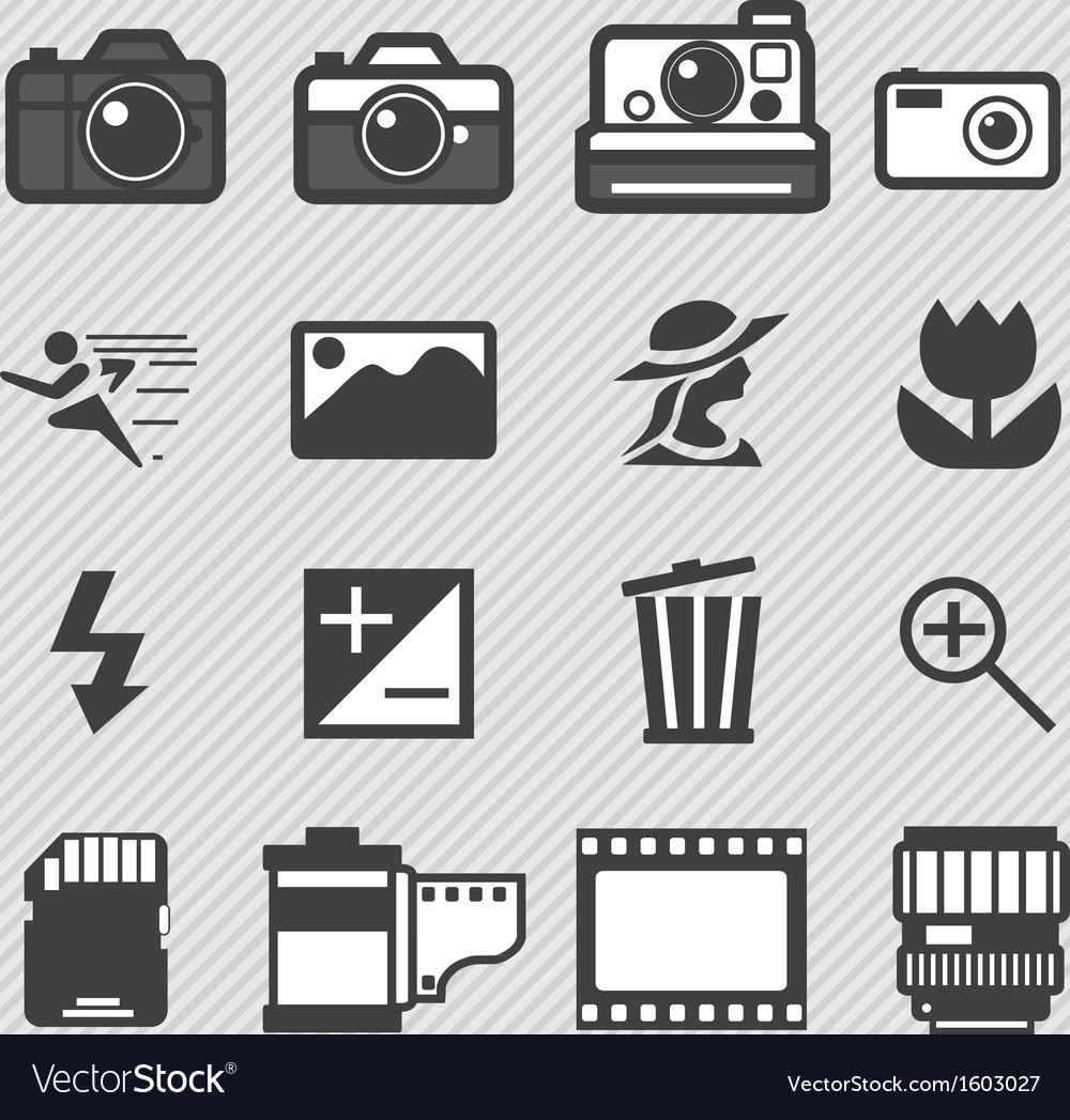 Photography camera lens icons set vector | Price: 1 Credit (USD $1)