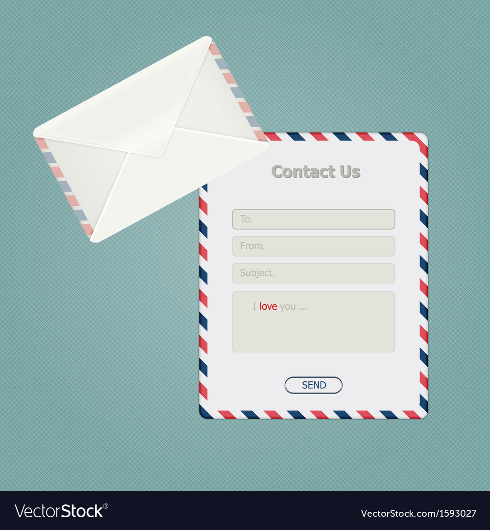 Simple message form and classic envelope vector | Price: 1 Credit (USD $1)