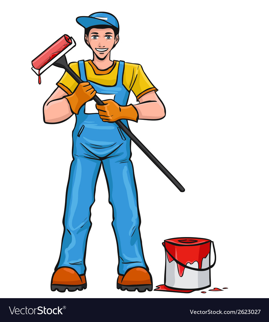 Worker painter in his equipment vector | Price: 1 Credit (USD $1)