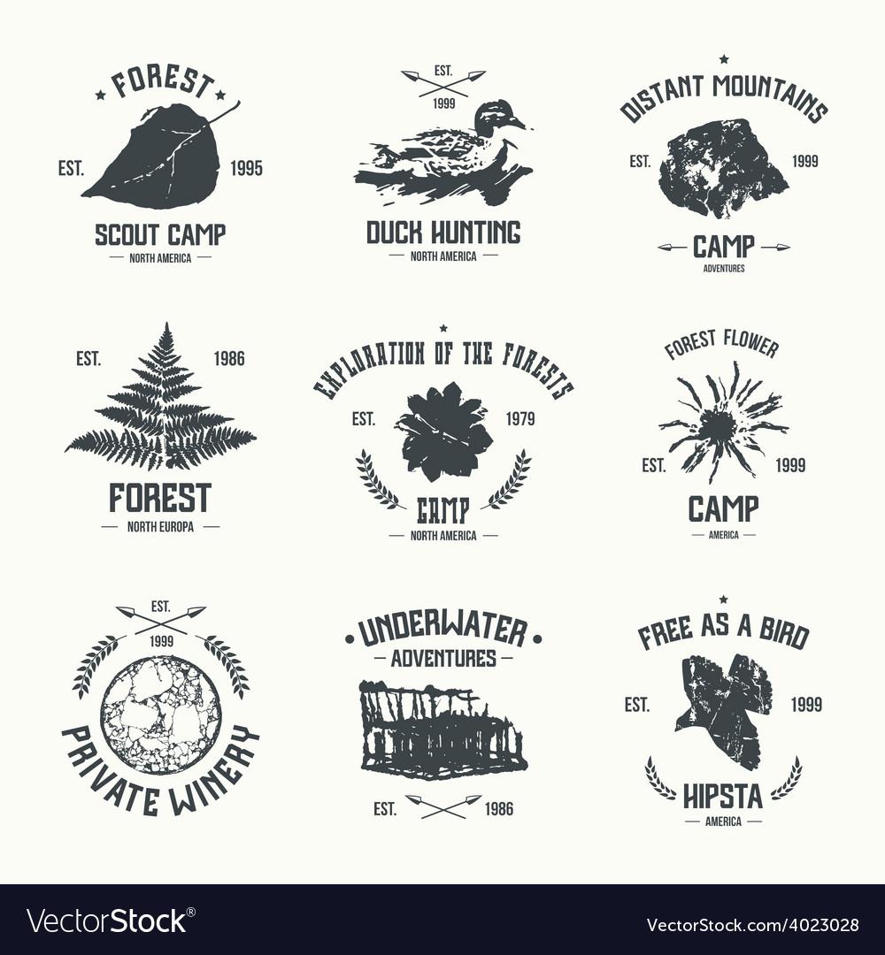 Adventure camp emblems vector | Price: 1 Credit (USD $1)