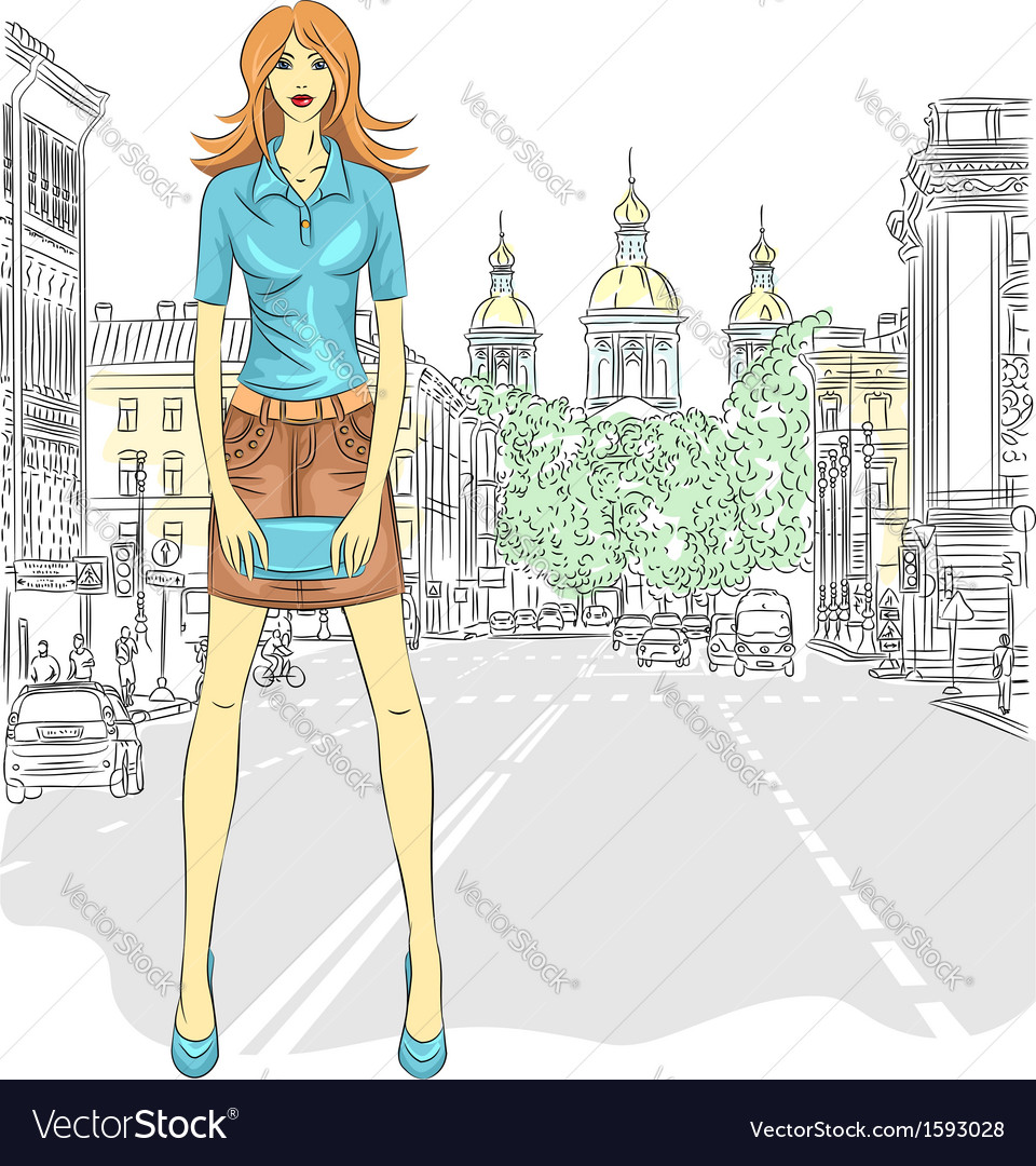 Fashionable attractive girl in st petersburg vector | Price: 1 Credit (USD $1)