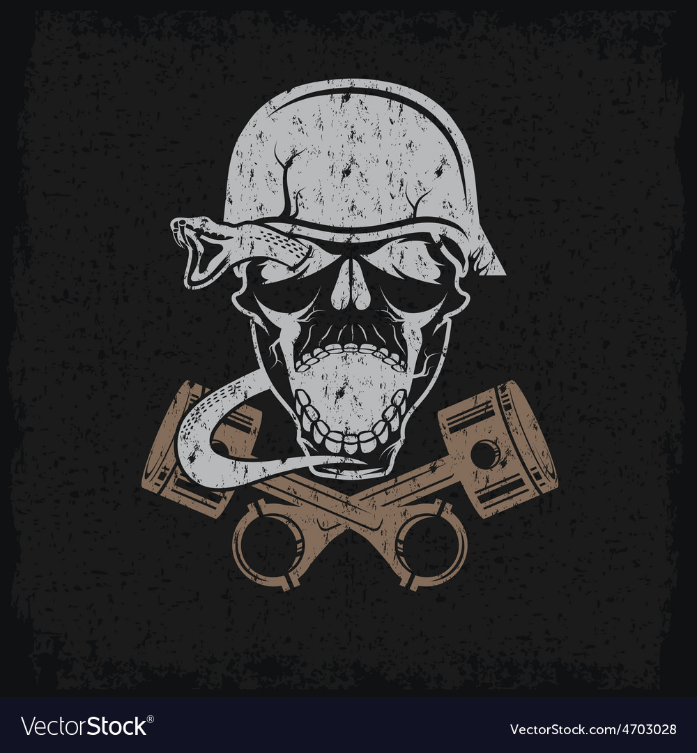 Grunge biker theme label with pistons snake and vector | Price: 1 Credit (USD $1)