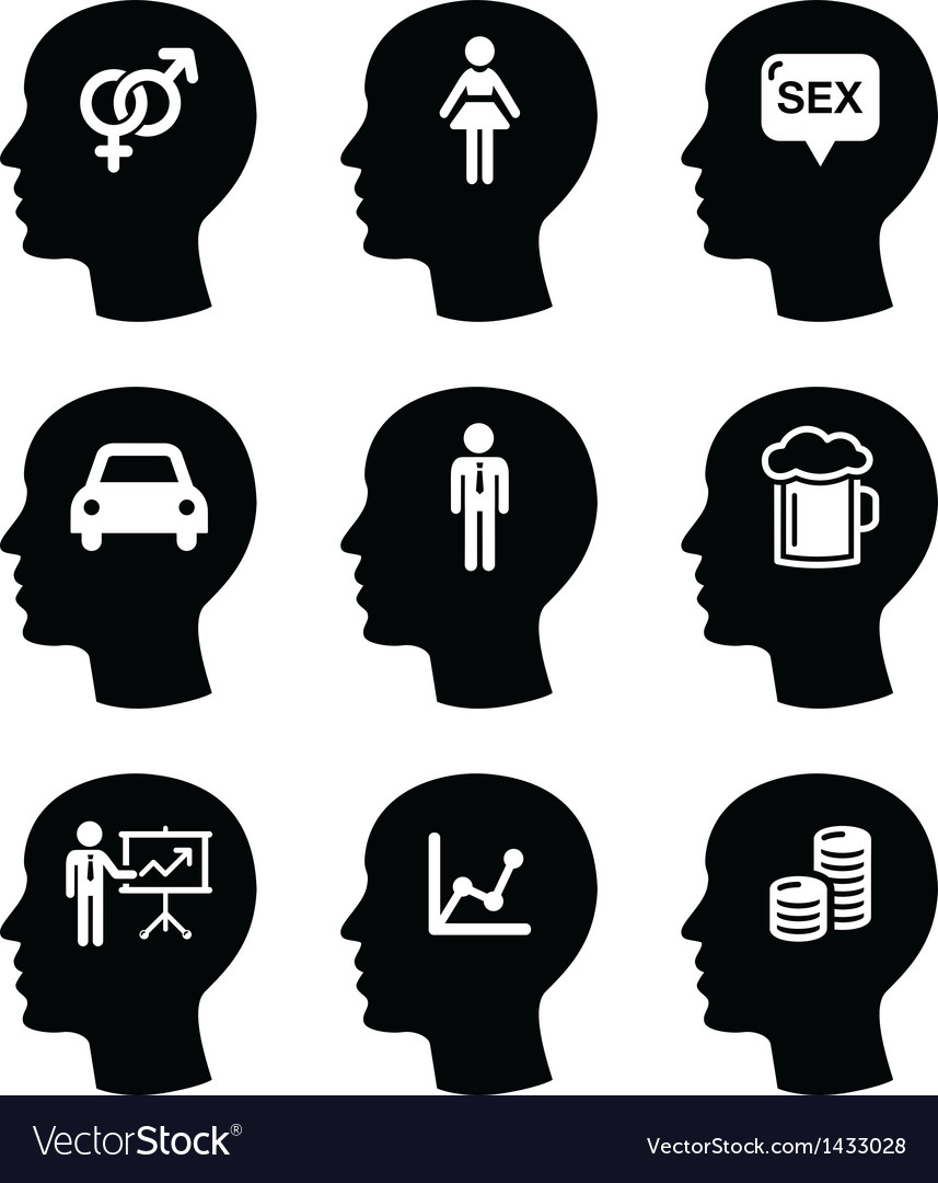 Head man thoughts icons set vector | Price: 1 Credit (USD $1)