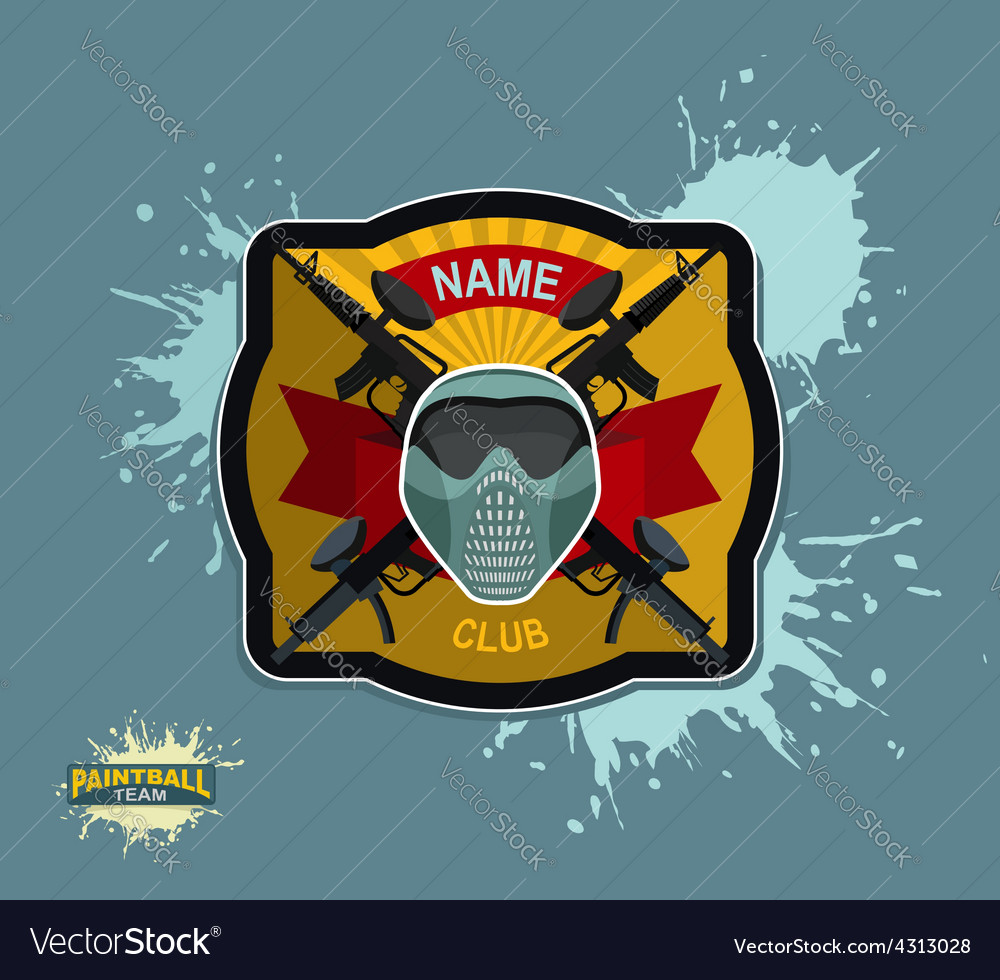 Paintball logo emblem paintball guns and wings vector | Price: 1 Credit (USD $1)