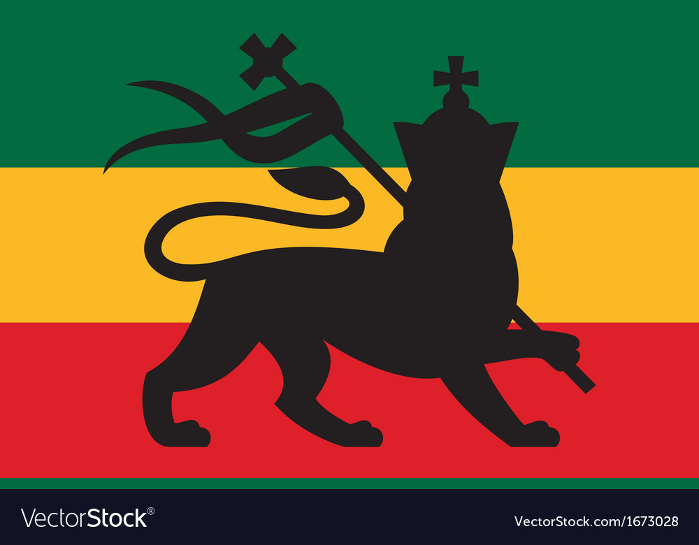 Rastafarian flag with the lion of judah vector | Price: 1 Credit (USD $1)