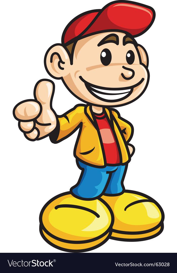 Thumb up boy vector   Price: 1 Credit (USD $1)
