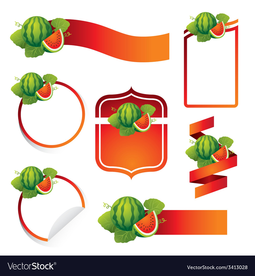 Watermelon label set vector | Price: 1 Credit (USD $1)