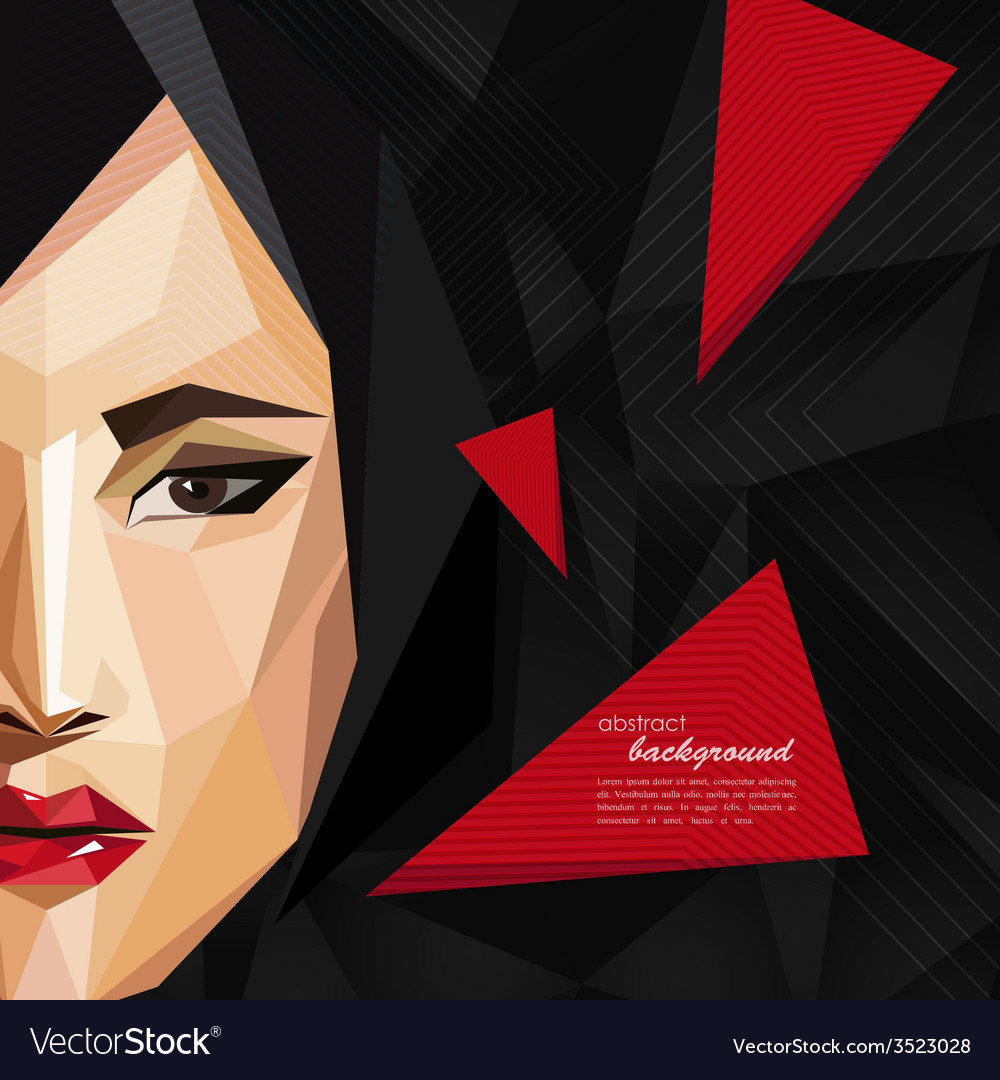 With an asian woman face in low-polygonal style vector | Price: 1 Credit (USD $1)