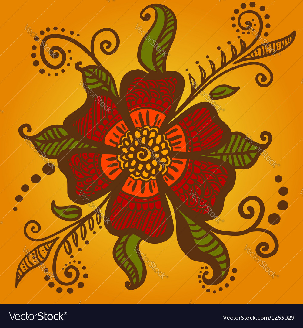 Abstract flower for henna mehndi tattoo vector | Price: 1 Credit (USD $1)