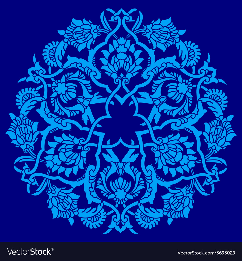 Blue artistic ottoman pattern series fifty five vector | Price: 1 Credit (USD $1)