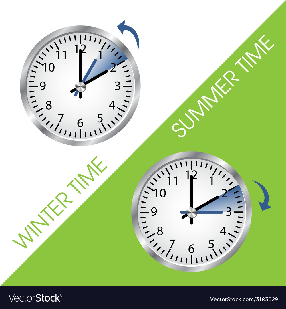Clock showing summer and winter time vector   Price: 1 Credit (USD $1)