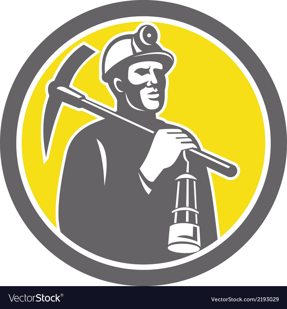 Coal miner hardhat with pick axe lamp front circle vector | Price: 1 Credit (USD $1)