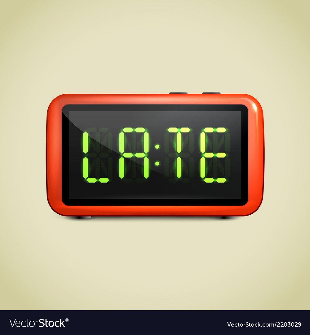Digital alarm clock wake up vector | Price: 1 Credit (USD $1)