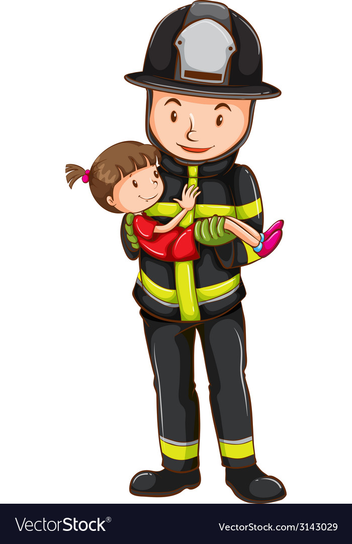 Fireman and girl vector | Price: 1 Credit (USD $1)