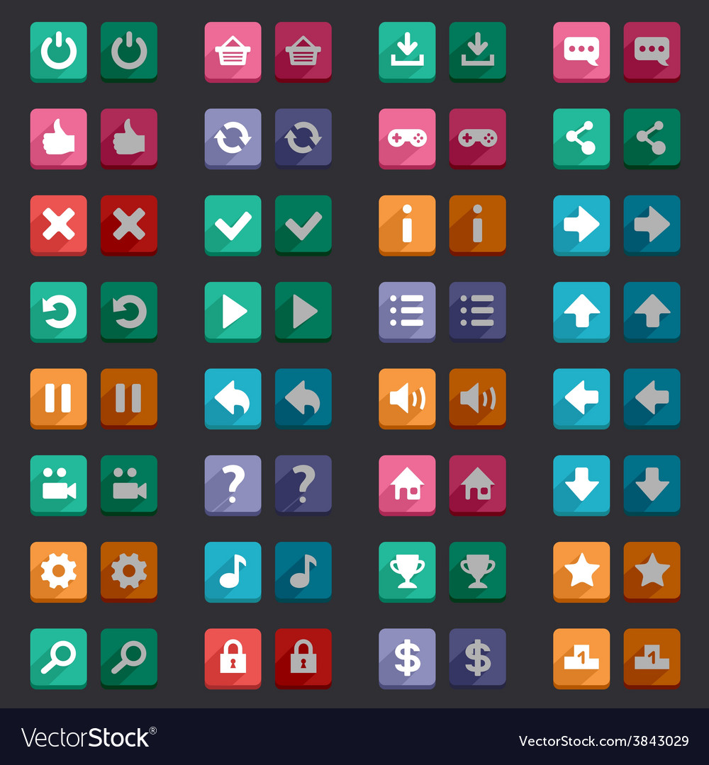Flat style game icons buttons icons interface vector | Price: 1 Credit (USD $1)