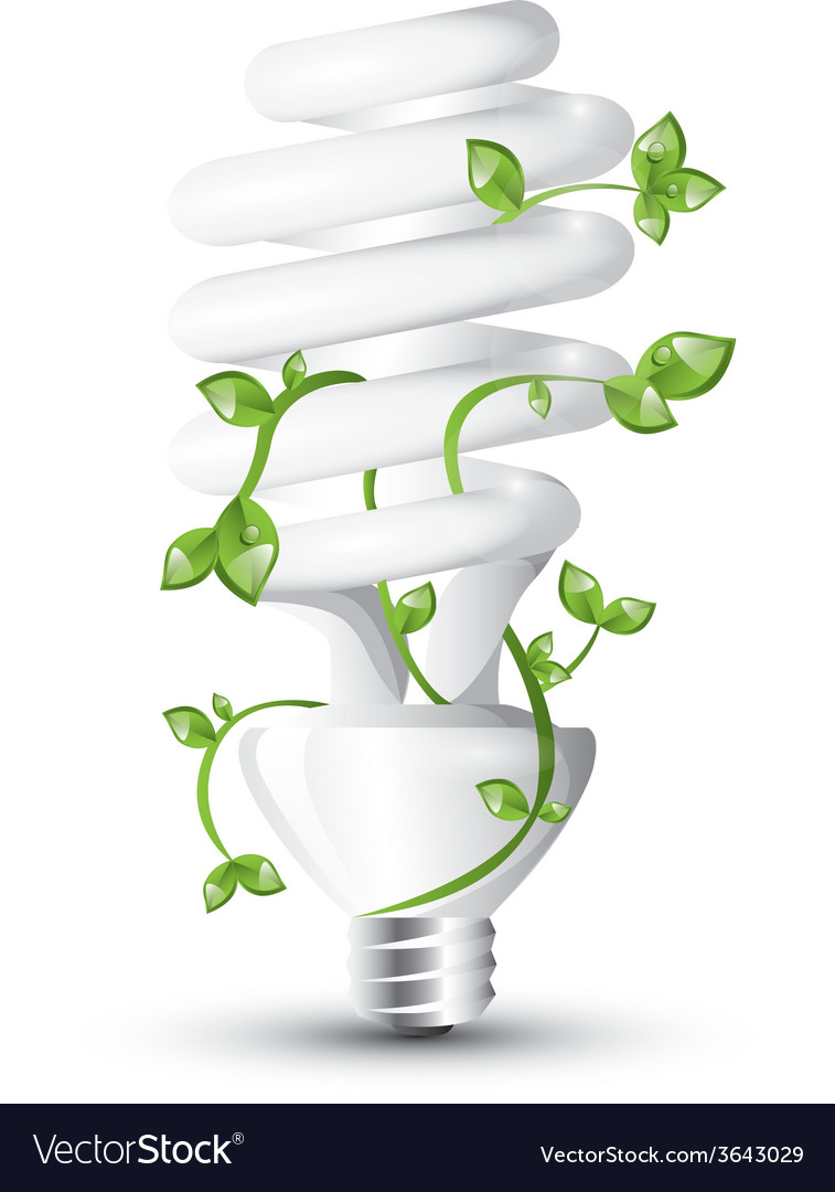Fluorescent lightbulb with plant vector | Price: 3 Credit (USD $3)