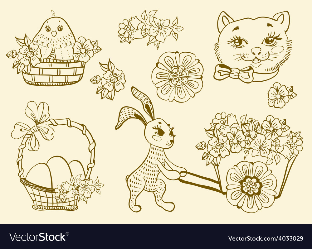 Hand drawn doodle easter symbols vector | Price: 1 Credit (USD $1)
