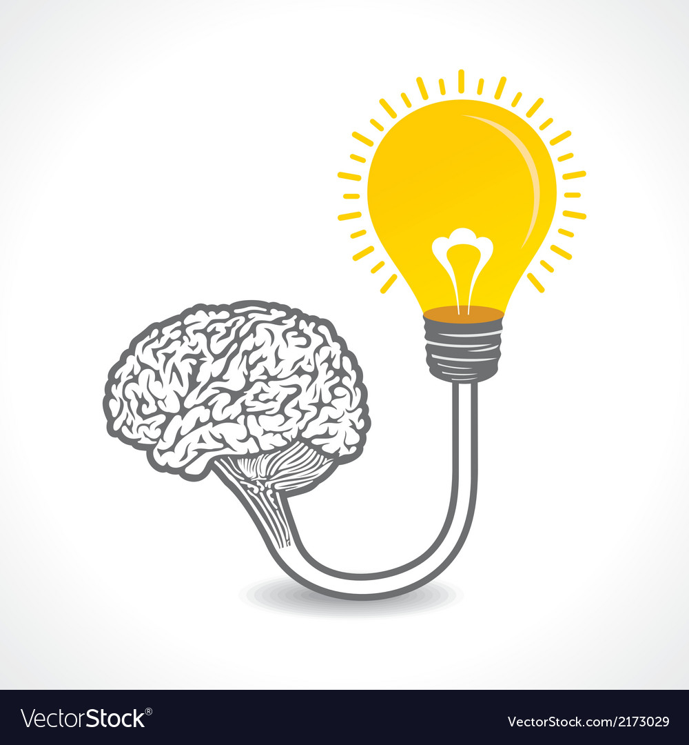 New idea concept or bulb connect to the brain vector | Price: 1 Credit (USD $1)