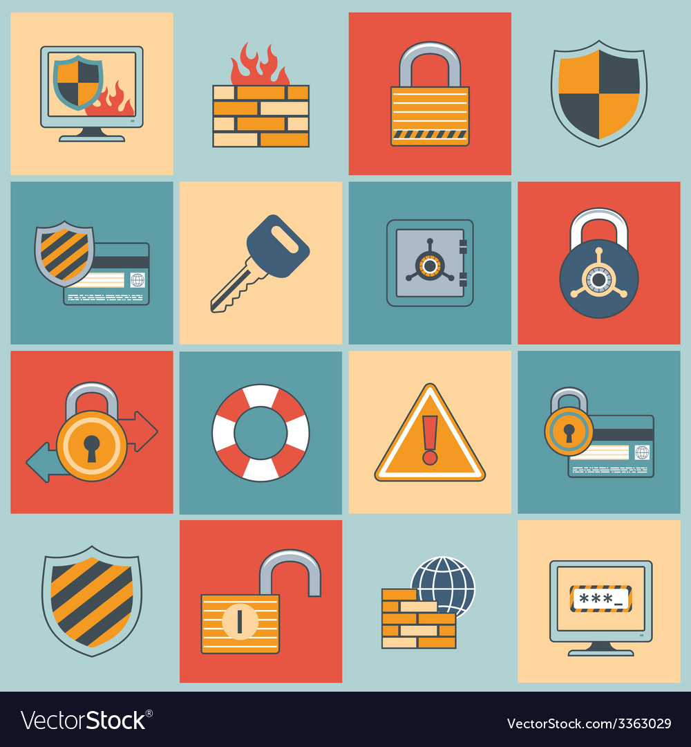 Security icons set flat line vector | Price: 1 Credit (USD $1)