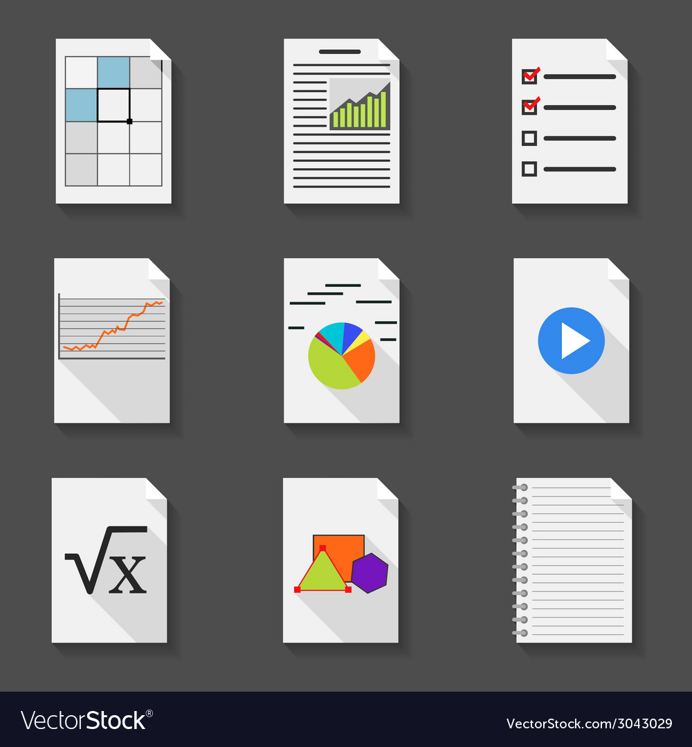 Set of icons of office documents in a flat style vector | Price: 1 Credit (USD $1)