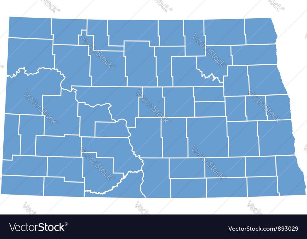 State map of north dakota by counties vector | Price: 1 Credit (USD $1)