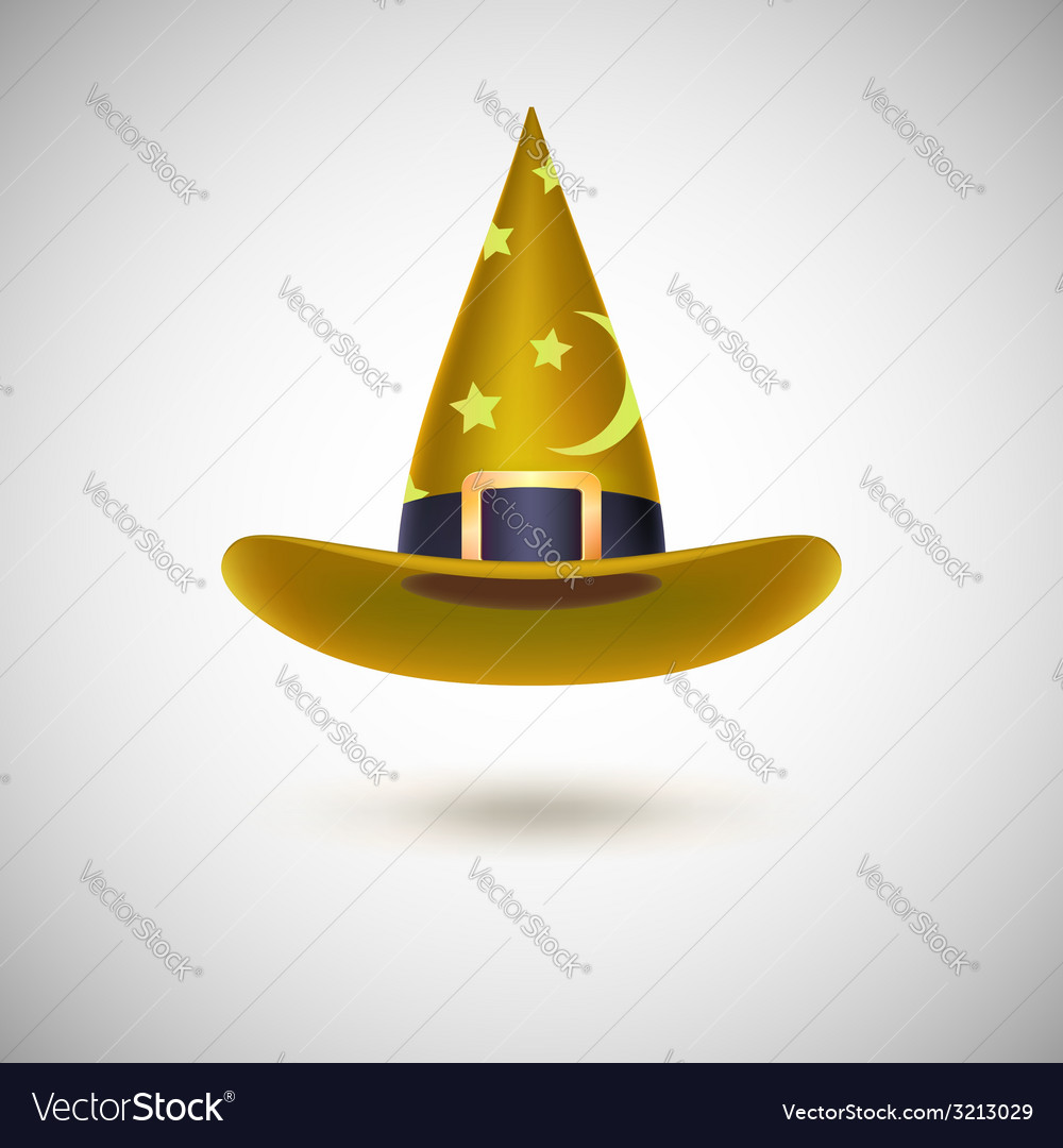 Yellow witch hat for halloween vector | Price: 1 Credit (USD $1)