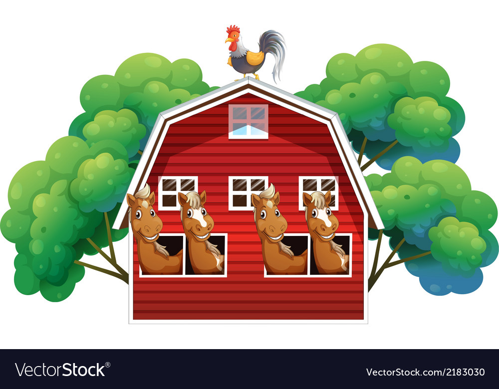 A farmhouse with four horses and a rooster vector | Price: 1 Credit (USD $1)
