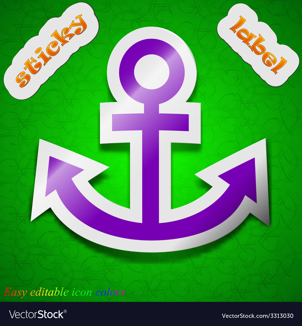 Anchor icon sign symbol chic colored sticky label vector | Price: 1 Credit (USD $1)