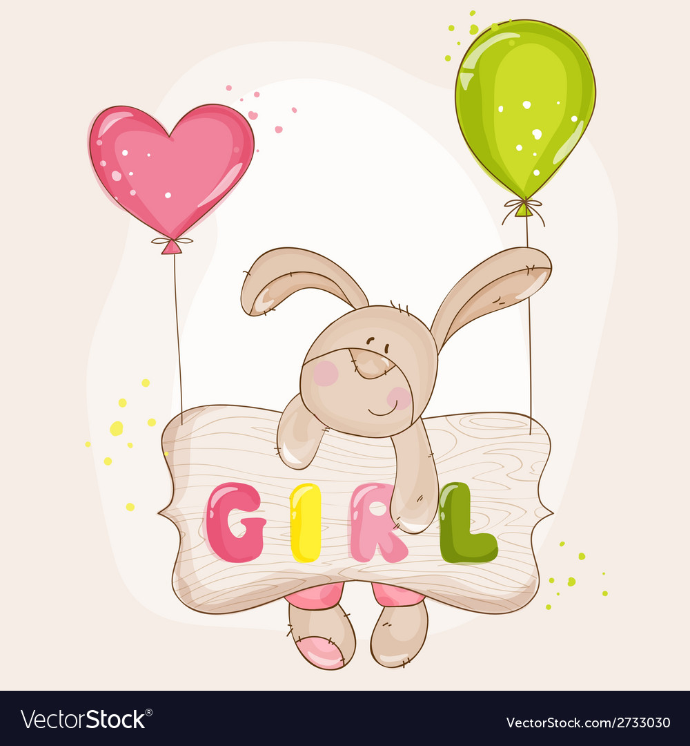 Baby bunny with balloons - for baby shower vector | Price: 3 Credit (USD $3)