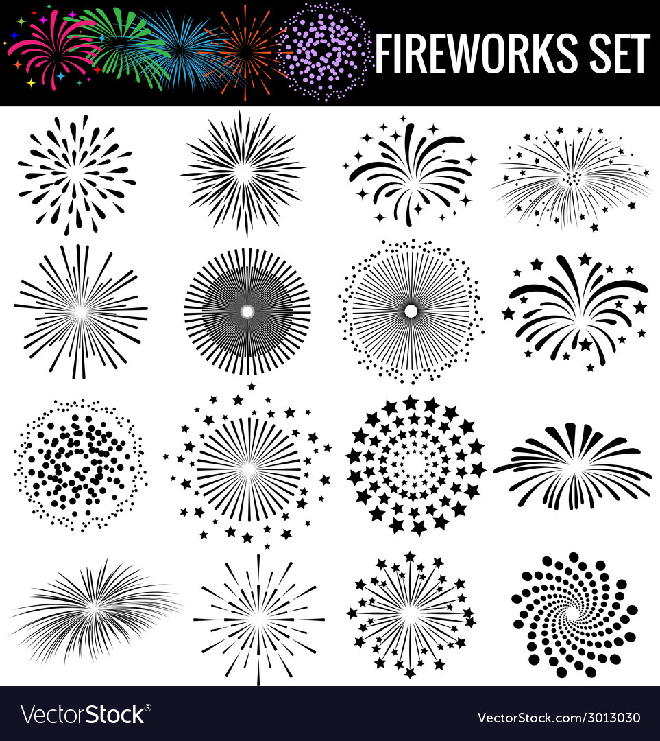 Beautiful fireworks on white background vector | Price: 1 Credit (USD $1)