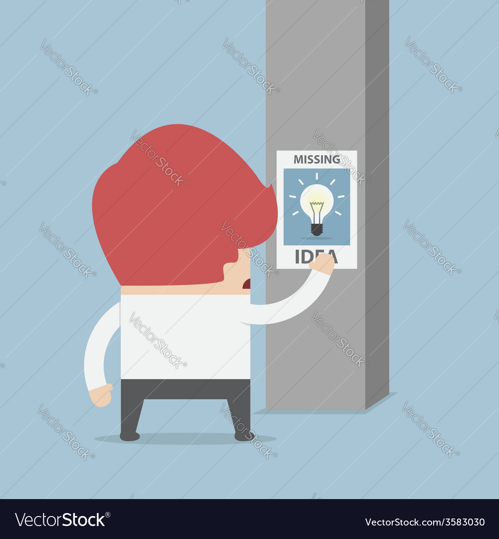 Businessman standing in front of missing idea post vector | Price: 1 Credit (USD $1)