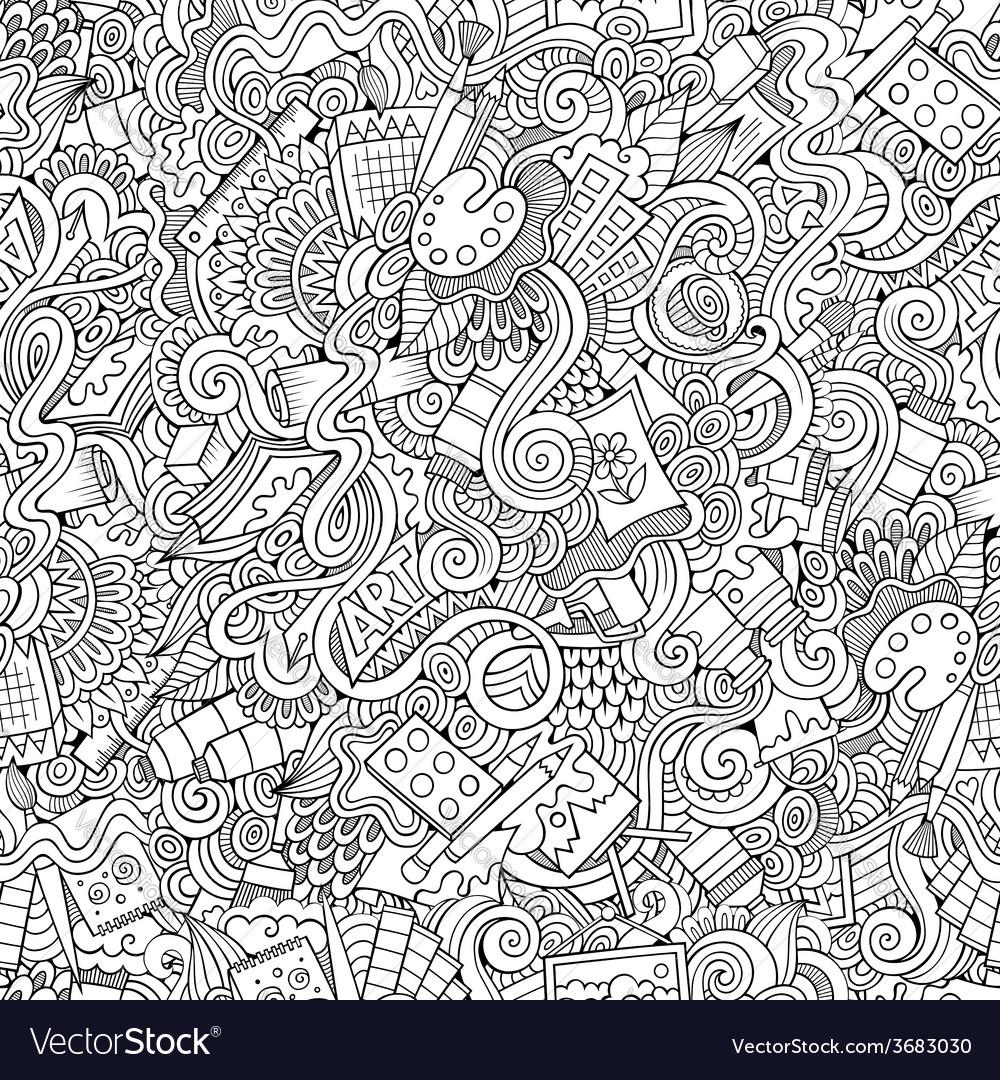 Cartoon art and craft seamless pattern vector | Price: 1 Credit (USD $1)