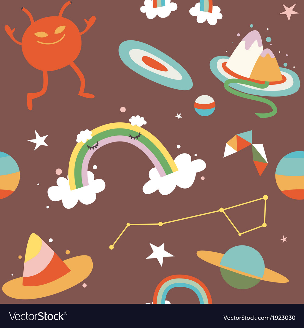 Cartoon cosmos and alien seamless pattern vector | Price: 1 Credit (USD $1)