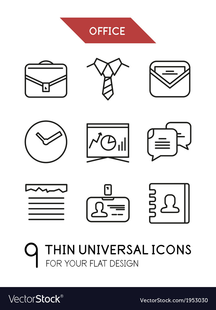 Collection of office trendy thin line icons vector | Price: 1 Credit (USD $1)
