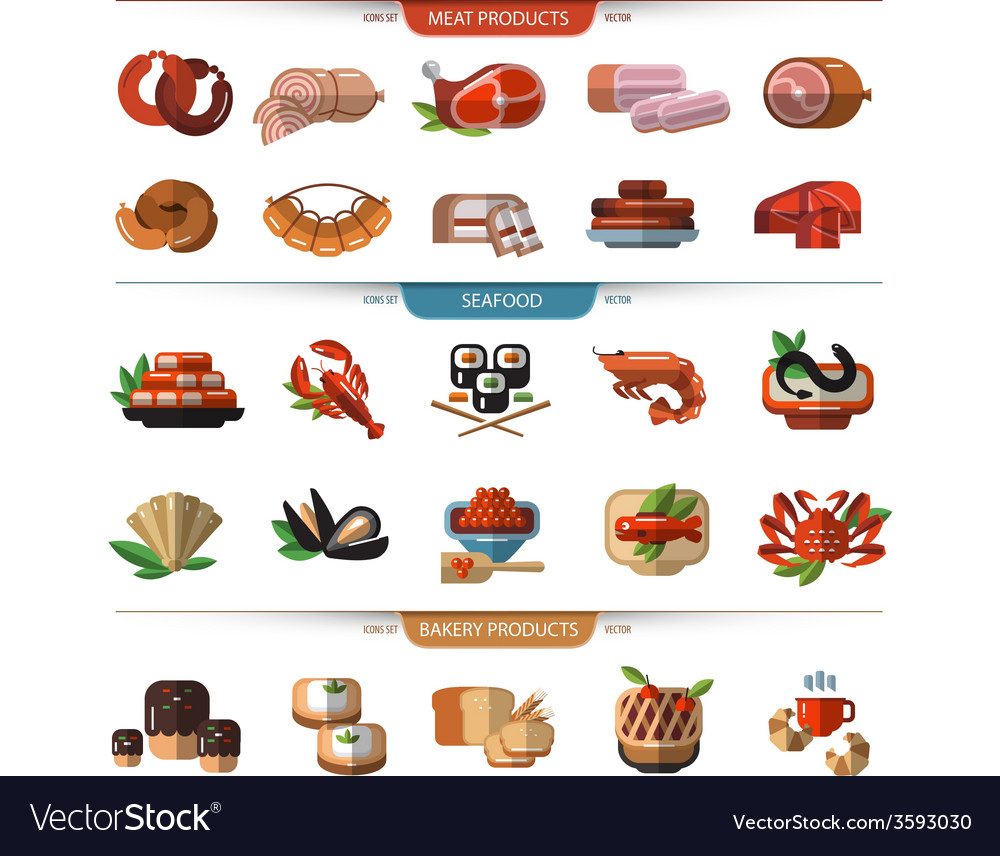 Food set of icons symbols meat seafood bread vector | Price: 1 Credit (USD $1)