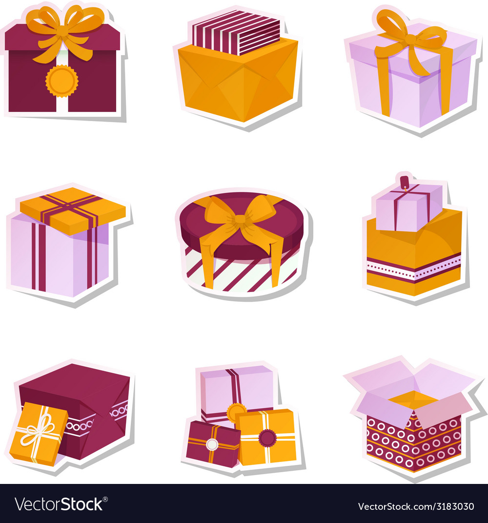Gift box stickers set vector | Price: 1 Credit (USD $1)