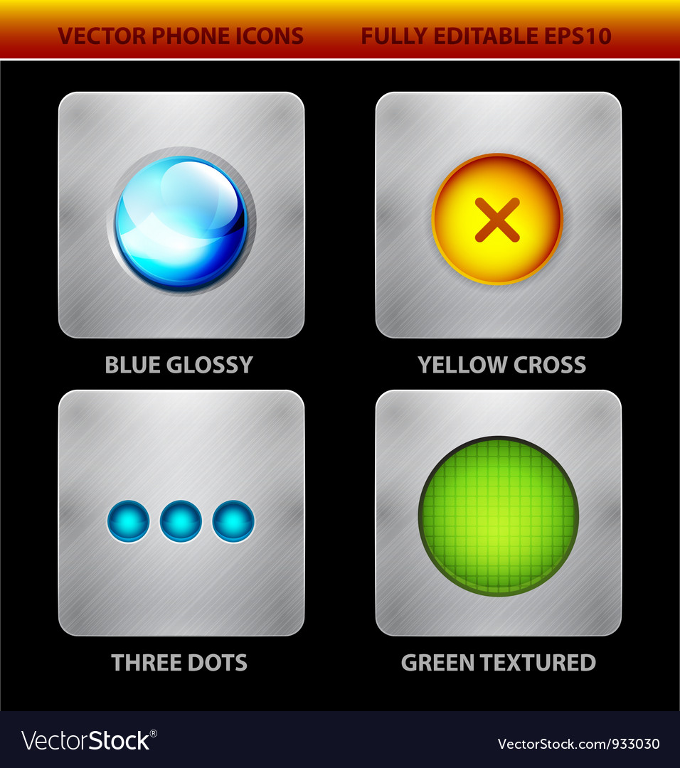 Glossy circles mobile app icons vector | Price: 3 Credit (USD $3)