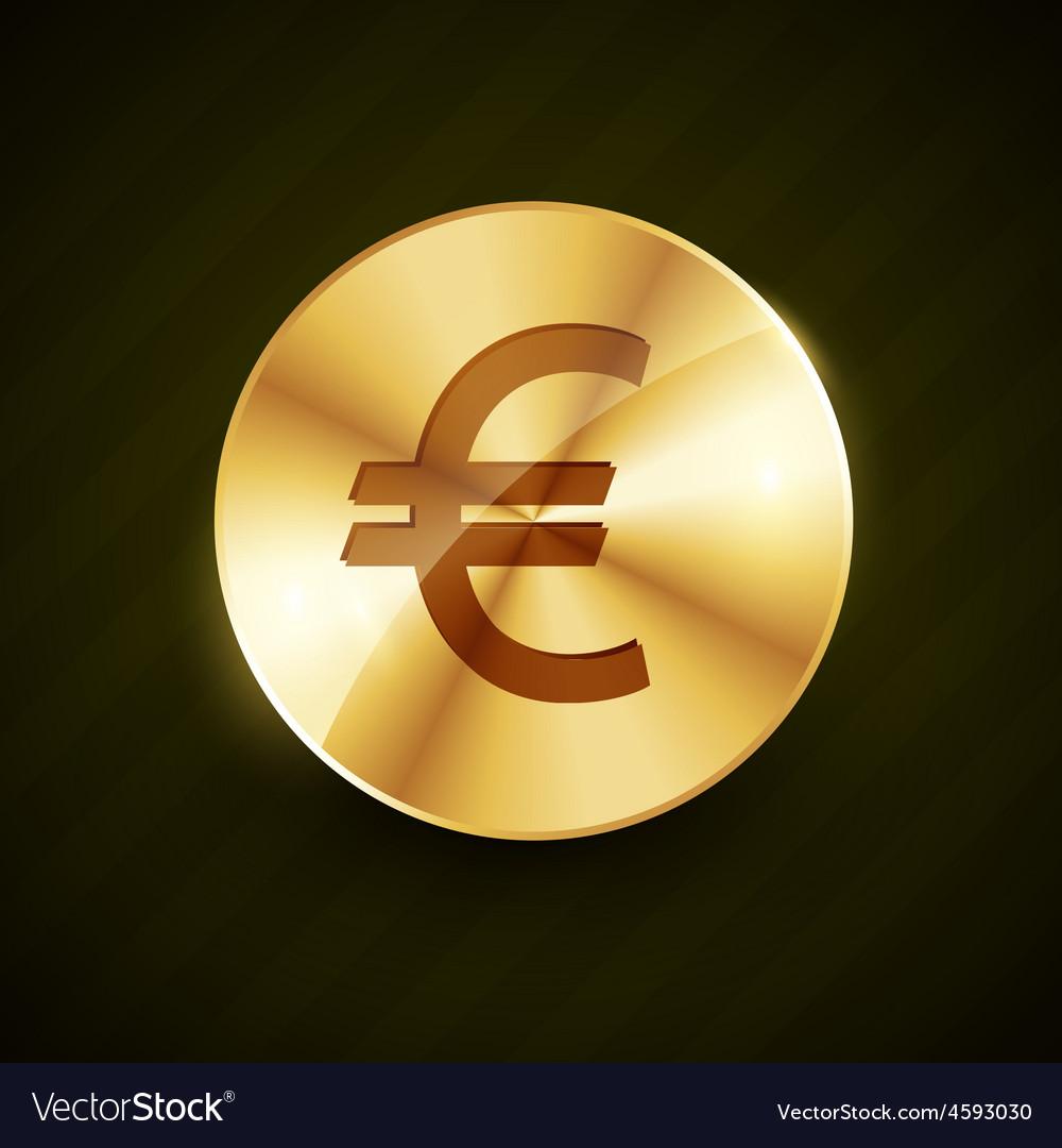 Golden euro symbol coin shiny vector | Price: 1 Credit (USD $1)