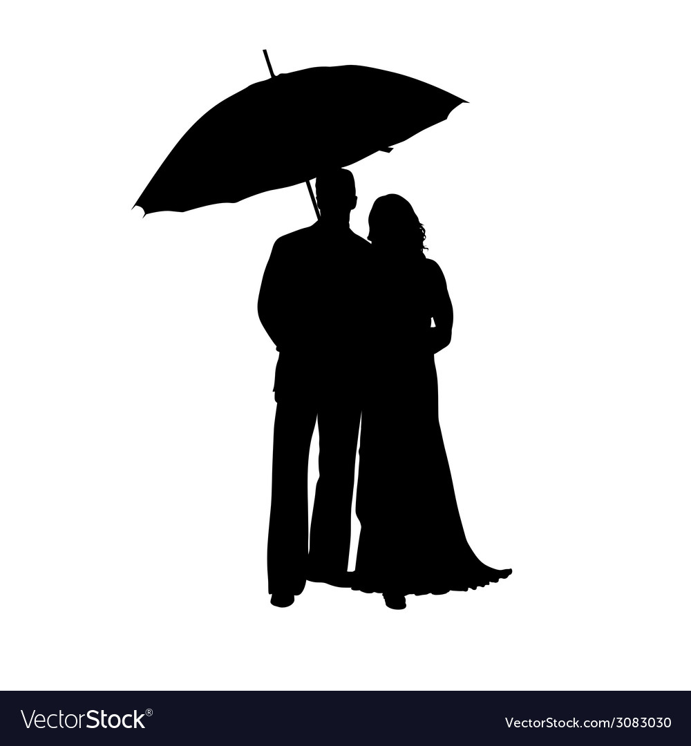 Man and woman with umbrella silhouette vector | Price: 1 Credit (USD $1)