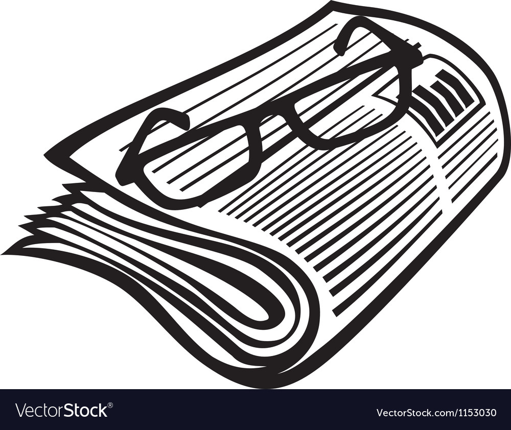 Newspaper icon and reading glasses vector | Price: 1 Credit (USD $1)