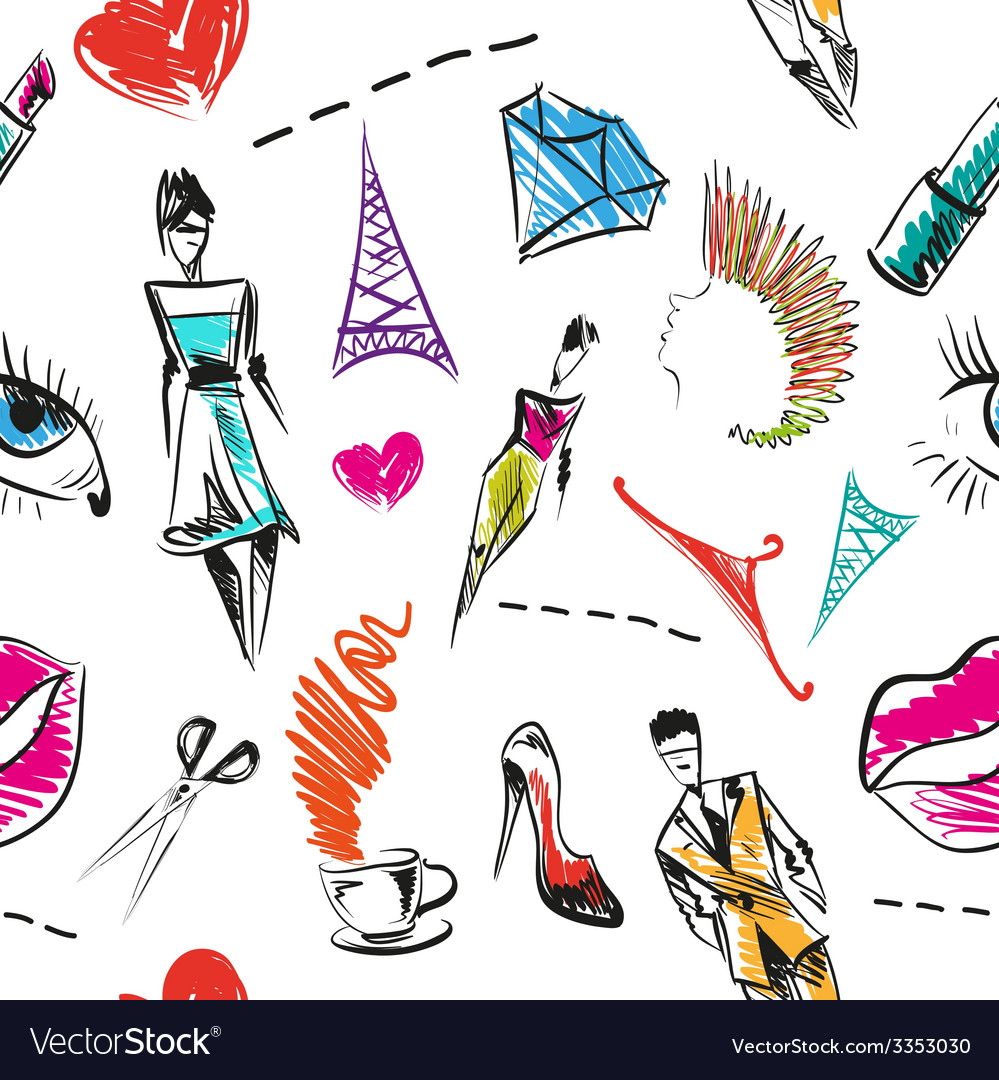 Seamless fashion pattern backgrounds vector | Price: 1 Credit (USD $1)