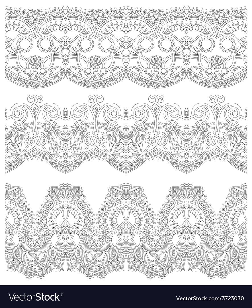 Seamless ornamental floral stripes vector | Price: 1 Credit (USD $1)