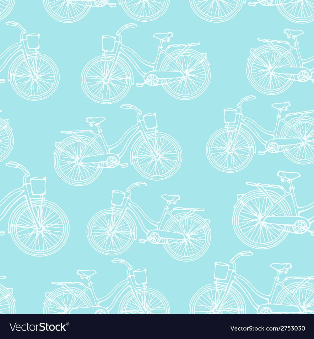 Seamless pattern with outline vintage bicycles vector | Price: 1 Credit (USD $1)
